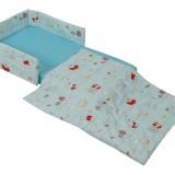 סט למיטת תינוק ומגן ראש דיסני דגם-פו תכלת