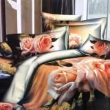 סט מצעים למיטה מיתכווננת מבד סאטן כותנה בצפיפות גבוהה במבצע דגם שושן ורוד